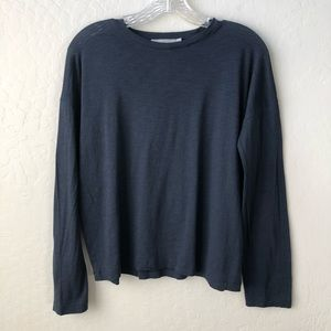 Vince Relaxed Long Sleeve Pima Cotton Shirt Navy